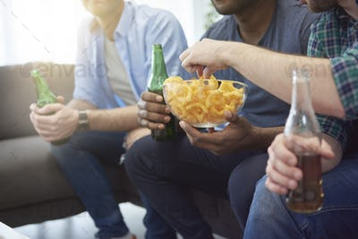 Beer and some snack during the match