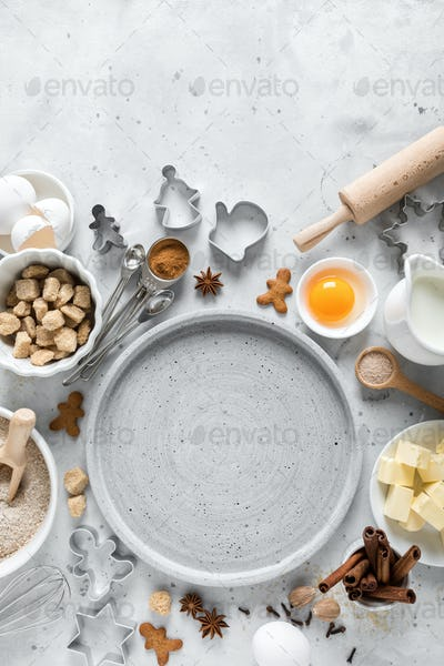 Christmas or Xmas baking culinary background. Ingredients for cooking pastry on kitchen table