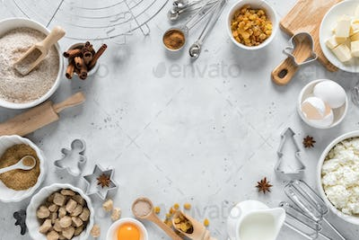 Christmas or Xmas baking culinary background. Ingredients for cooking on kitchen table