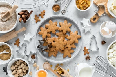 Christmas baking culinary background. Xmas gingerbread on kitchen table