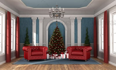 Waiting christmas in a luxury living room