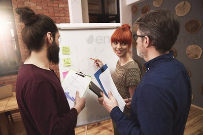 Group of people analyzing the result of work