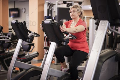 Gym time for mature woman