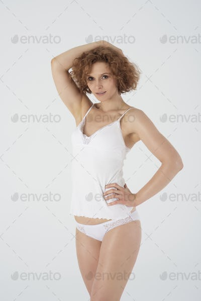 Portrait of natural woman in lingerie