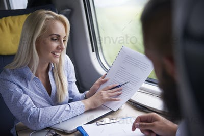 Businesswoman has meeting during the journey