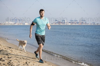 Morning jogging with your dog