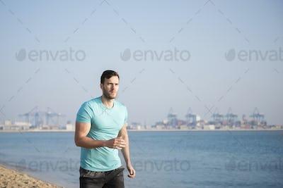 Running man on the beach