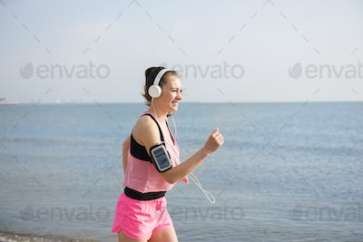 Morning running on the beach