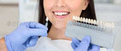 Dentist applying sample from tooth scale to happy patient teeth