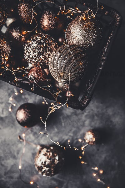 Christmas or New Year background:Christmas toys in vintage style on a gray background. New Year'