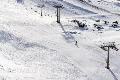 Ski resort of Sierra Nevada in winter, full of snow