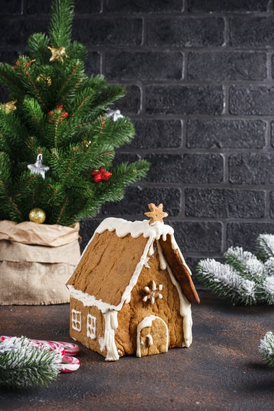 Christmas homemade gingerbread house