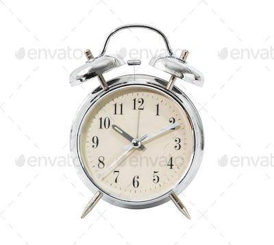 Silver alarm clock on white_-2