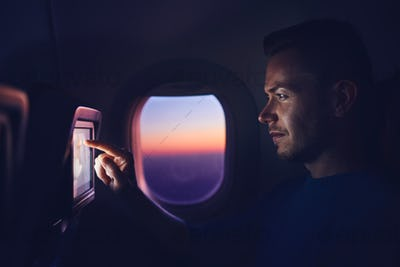 Man travel by airplane