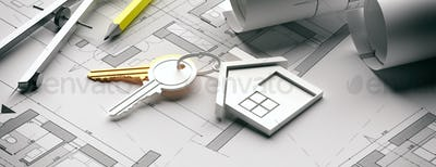 Houme keys and blueprint plans, banner. 3d illustration