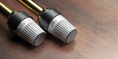 Radiator thermostat on wood. Heating temperature control. 3d illustration