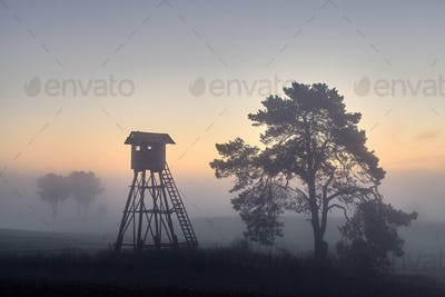 Deer hunting tower on a field in Autumn at dawn.