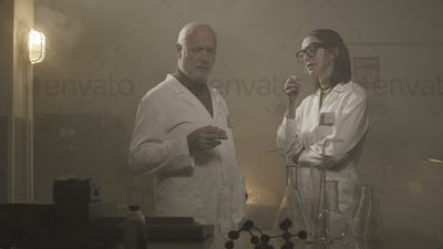 Scientists smoking in a vintage style lab