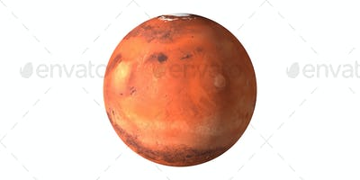 Mars planet red surface seen from space