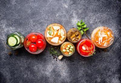 Fermented food. Preserved vegetables in jars