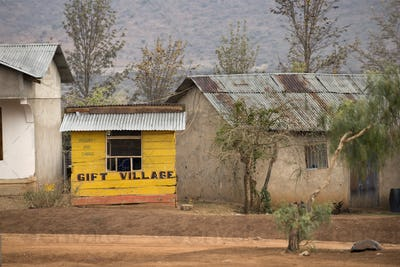 Yellow wooden gift shop, Tanzania, Africa