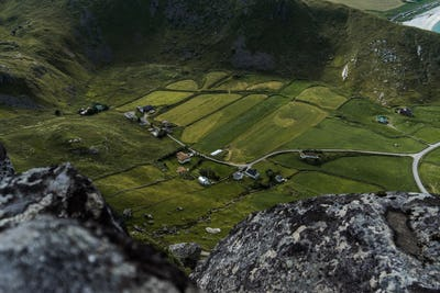 Small farm in a valley on Lofoten