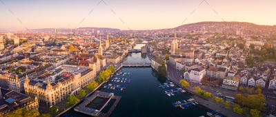 Aerial view of Zurich and River Limmat, Switzerland