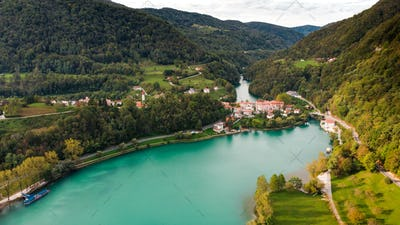 Most Na Soci Town at Emerald Lake Edge. Aerial View of Slovenia