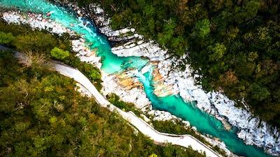 Emerald Soca River in Soca Valley, Slovenia. Aerial Drone Top Do