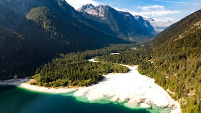Predil Lake in Italy. Aerial Drone View. Beautiful Landscape