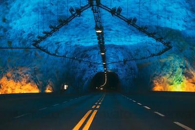 Laerdal Tunnel, Norway. Road On Illuminated Tunnel In Norwegian