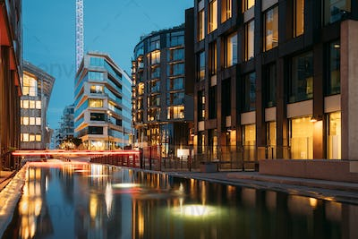 Oslo, Norway. Night View Embankment And Residential Multi-storey