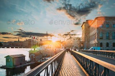 Stockholm, Sweden. Skeppsholmsbron - Skeppsholm Bridge. Famous P