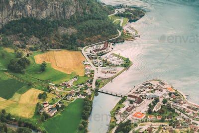 Aurland, Aurlandsvangen, Norway. Aurlandsvangen Seen From Stegas