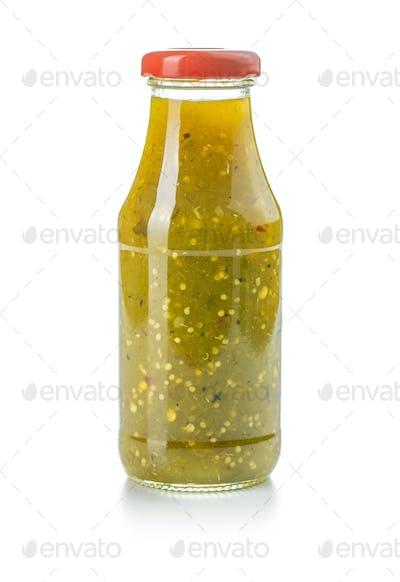 Hot jalapeno sauce. Green chilli sauce.