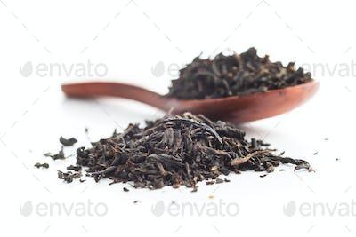 Dried black tea leaves.