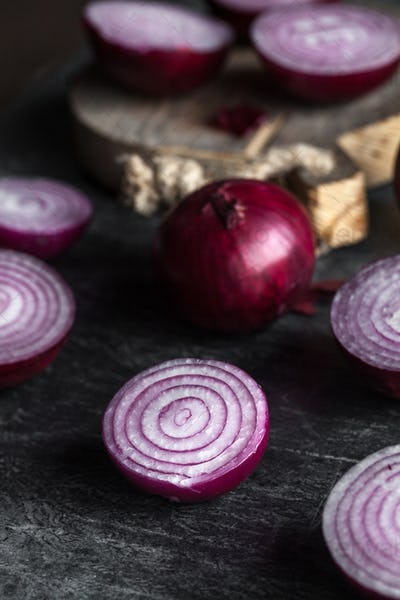 close up of sliced red onion, intended as a background image