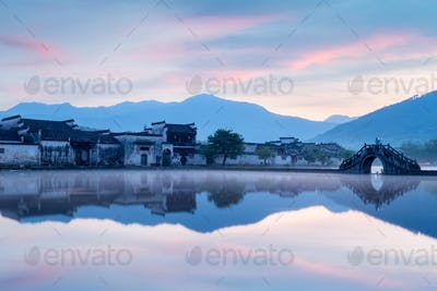 picturesque ancient village in early morning