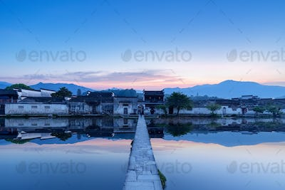 chinese ancient villages at dawn