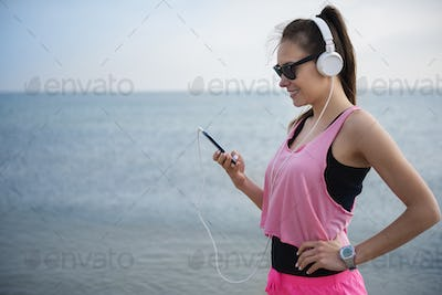 Favorite music played from her mobilephone