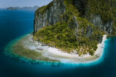 El Nido, Palawan, Philippines. Aerial drone image of epic surreal Pinagbuyutan Island with Ipil