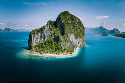 El Nido, Palawan, Philippines. Impressive aerial drone above view of unique Pinagbuyutan Island. El
