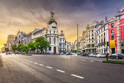 Madrid, Spain cityscape a