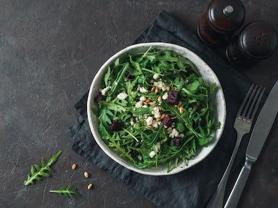 Aragula, beet and cheese salad