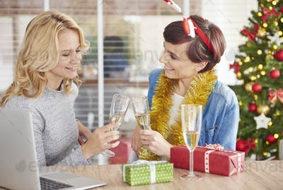 Women had a toast at office party