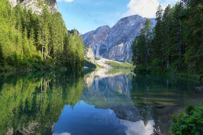Braies mountain lake in the Dolomite Alps, Italy