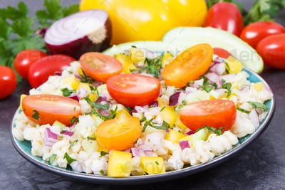 Fresh salad with bulgur groats and vegetables. Healthy lifestyles and nutrition