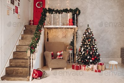 Lovely Christmas room with fir tree.New Year concept