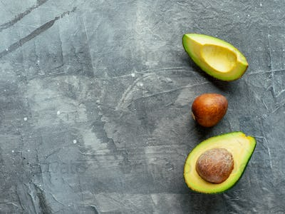 Avocado with copy space, top view