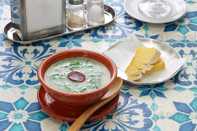 caldo verde (kale soup)  &  broa (corn bread), traditional portuguese cuisine